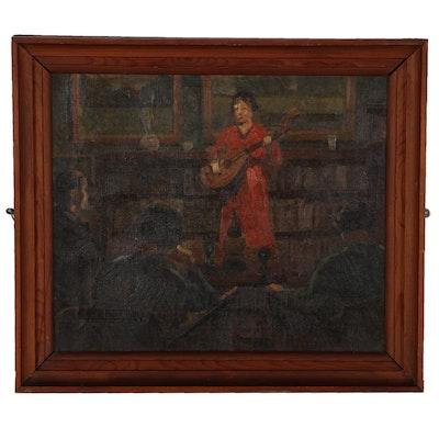 Oil Painting of Mandolin Player, Circa 1940