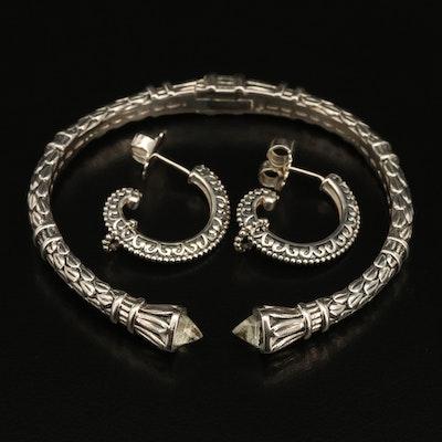 SeidenGang Quartz Cuff with J Hoop Earrings in Sterling