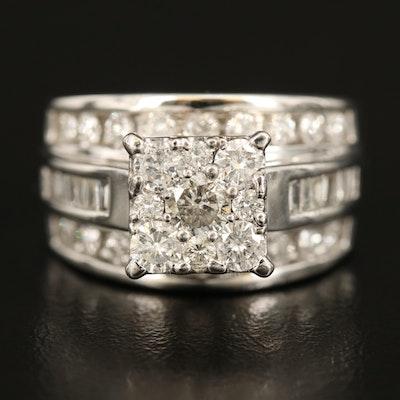 10K 2.00 CTW Diamond Cluster Ring