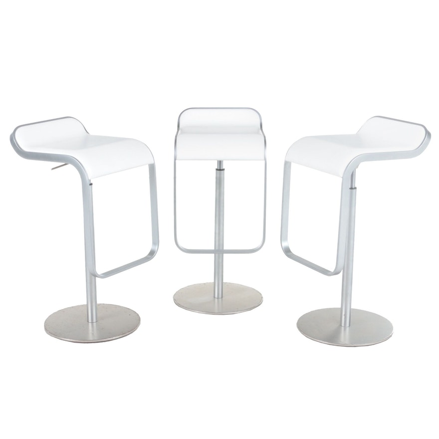 "Three Lapalma ""LEM"" Chrome-Plated and White Leather Barstools"