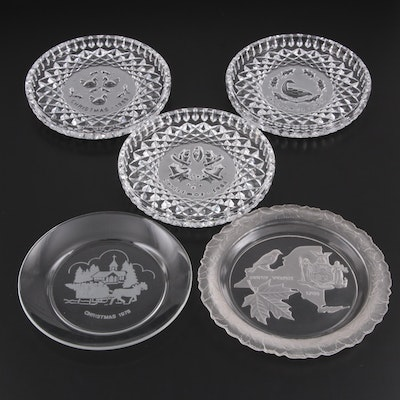Waterford Crystal Annual Christmas Plates with Other Glass Commemorative Plates