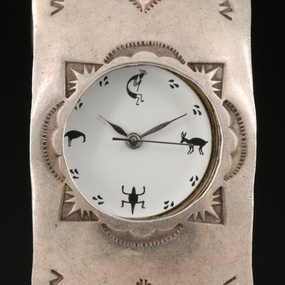 Southwestern Style Sterling Silver Quartz Cuff Watch