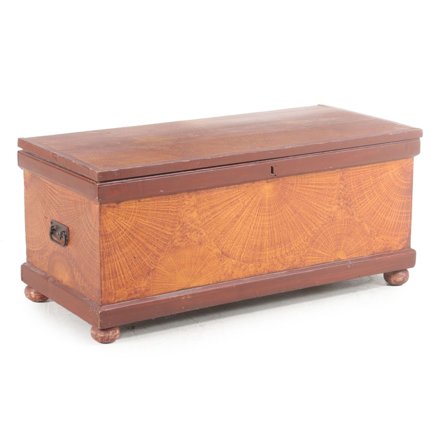 American Primitive Paint-Decorated Pine and Poplar Blanket Chest, 19th Century