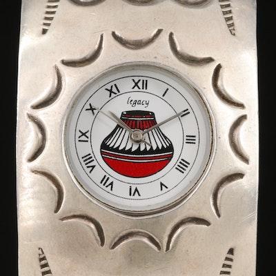 Legacy Southwestern Style Sterling Silver Quartz Cuff Watch