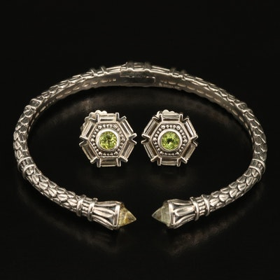 SeidenGang Cuff with Geometric Earrings in Sterling with Peridot and Quartz