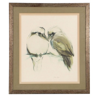 """Offset Lithograph After Klaus Meyer-Gasters """"Two Loving Brown Birds"""""""