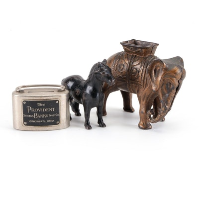 Cast Metal Coin Banks Including Elephant and Horse Forms, Mid/Late 20th C
