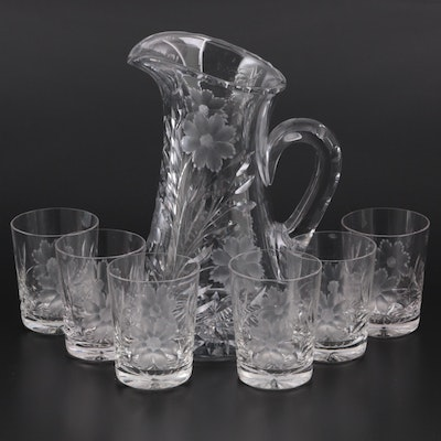 Floral Etched Glass Pitcher and Tumblers, Early to Mid 20th Century