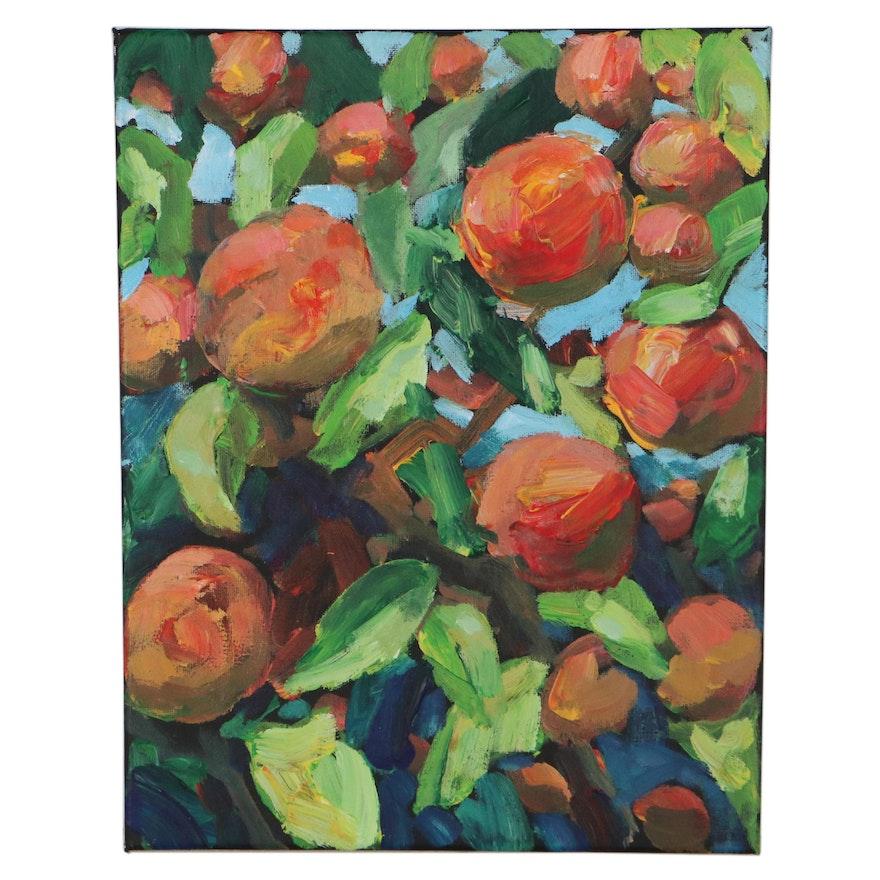 "Leif Janek Acrylic Painting ""Peaches"""