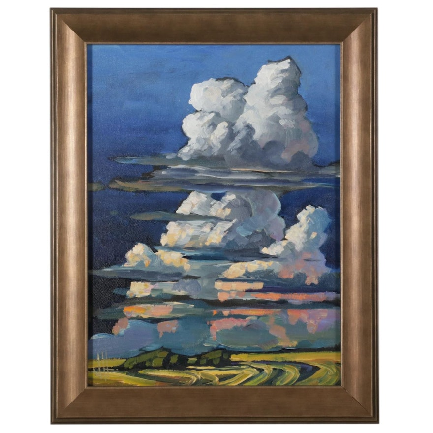William Hawkins Towering Clouds at Sunset Oil Painting, 2021