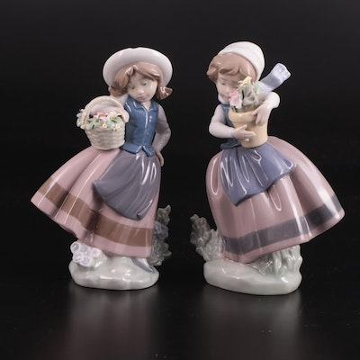 """Lladró """"Spring Is Here"""" and """"Sweet Scent"""" Porcelain Figurines by José Puche"""