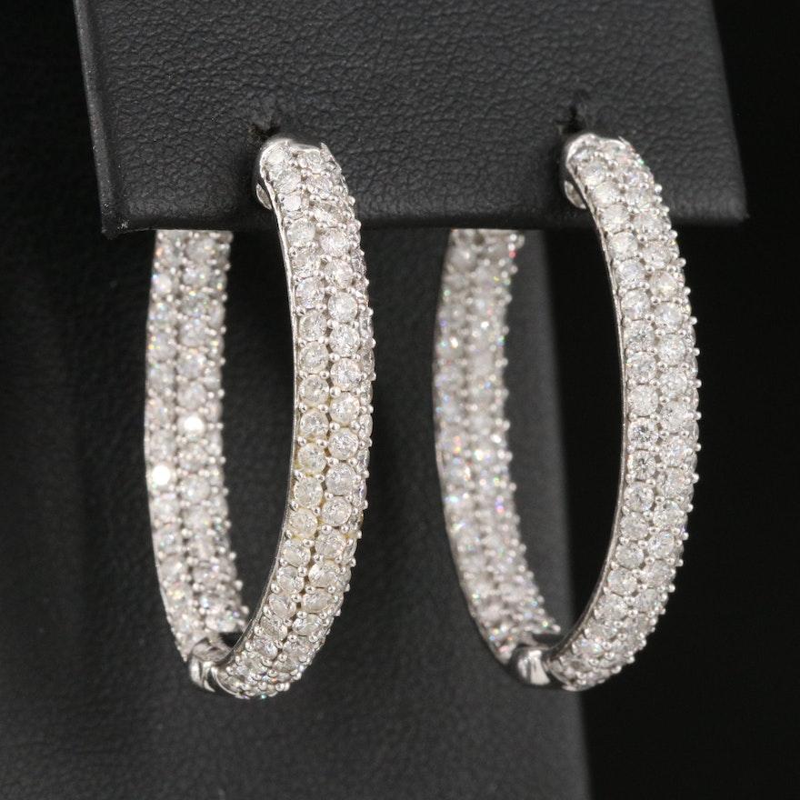 14K 4.96 CTW Pavé Diamond Inside-Out Oval Hoop Earrings