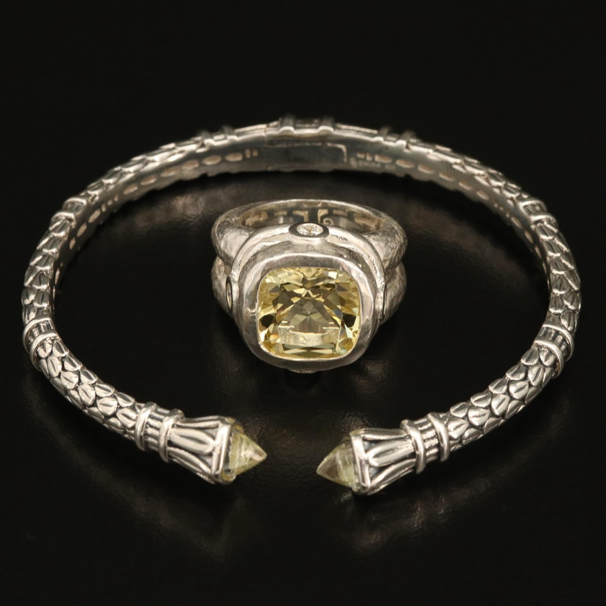 SeidenGang Sterling Citrine and Cubic Zirconia Hammered Ring with Quartz Cuff