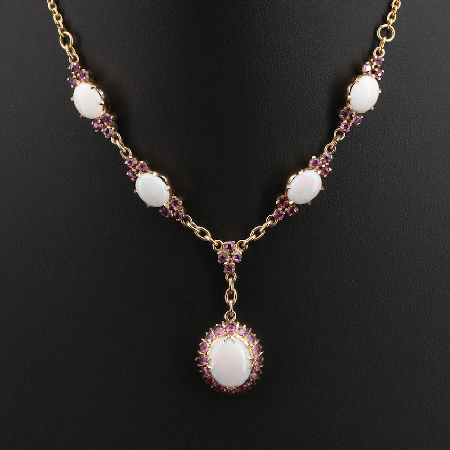 Vintage 14K Opal and Ruby Necklace