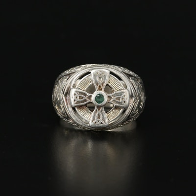Franklin Mint Sterling Celtic Cross Ring with Emerald