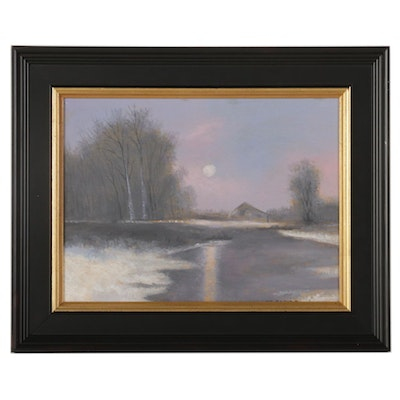 Sulmaz H. Radvand Oil Painting of Moonrise Over Winter Countryside, 2021