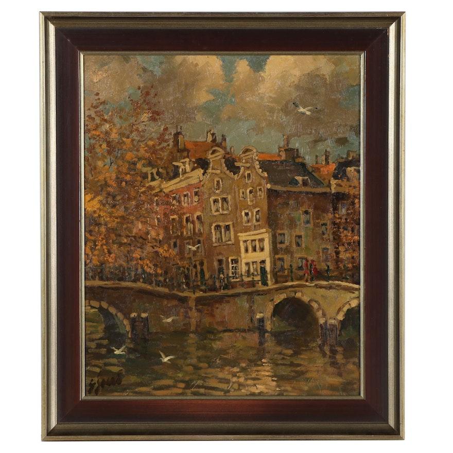 European Landscape Oil Painting of Neighborhood, Late 20th Century