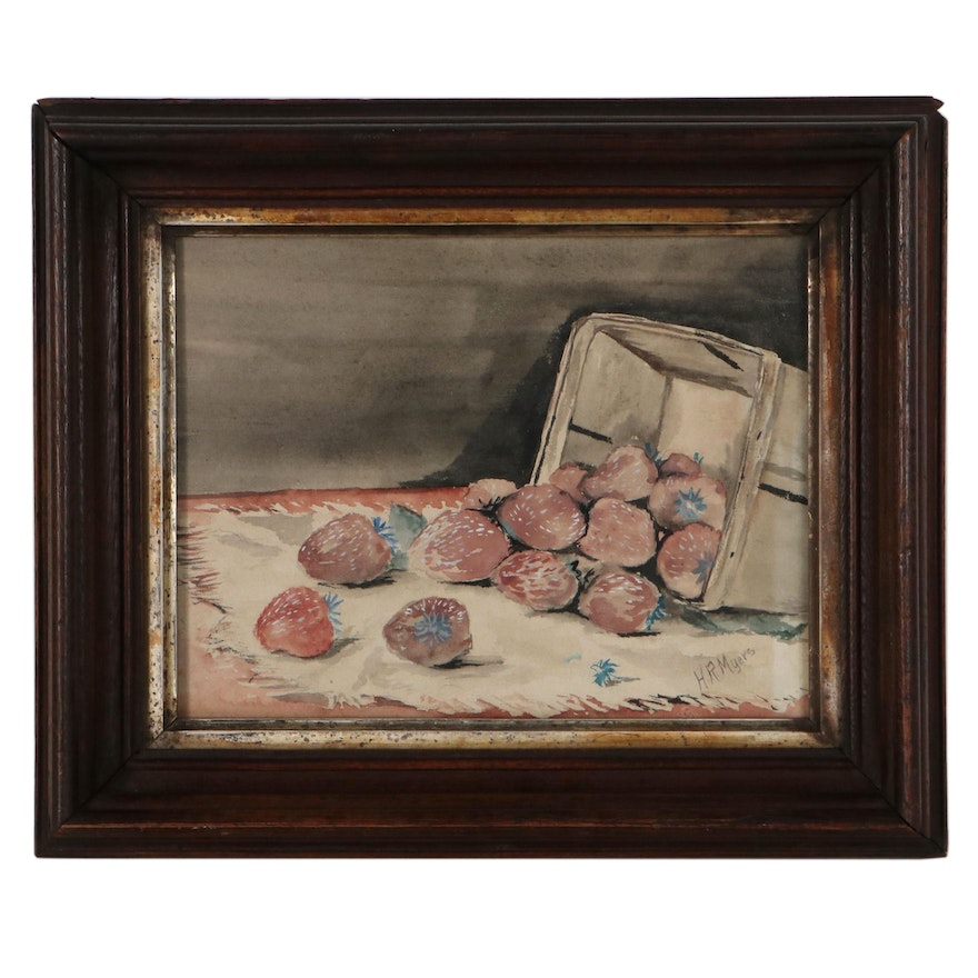H.R. Myers Still Life Watercolor Painting of Strawberries