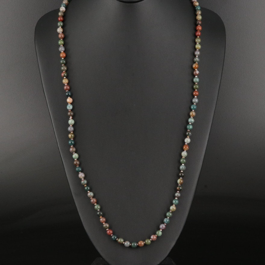 Agate Beaded Necklace with Jasper Spacer Beads