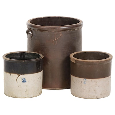 Eight-Gallon and Two-Gallon Stoneware Crocks, Early 20th Century