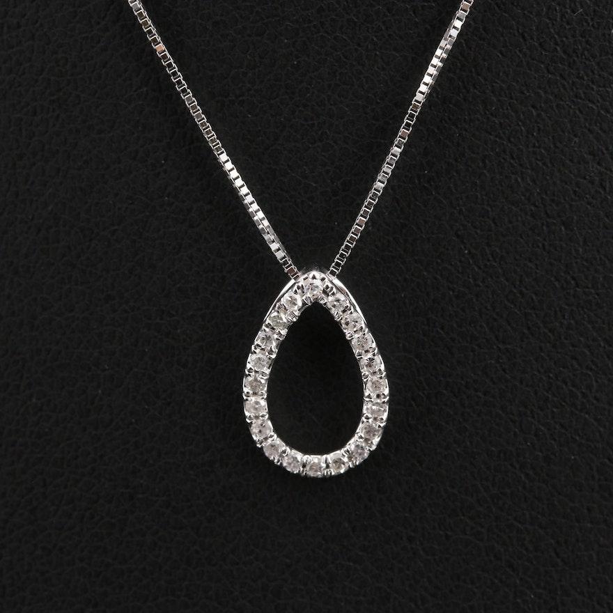 14K 0.12 CTW Diamond Teardrop Pendant Necklace