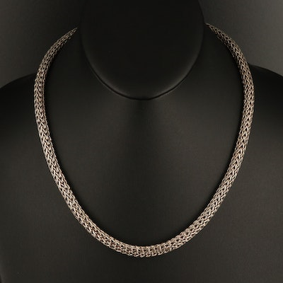 Sterling Round Wheat Chain Necklace