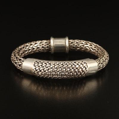Sterling Basket Weave Wheat Bracelet