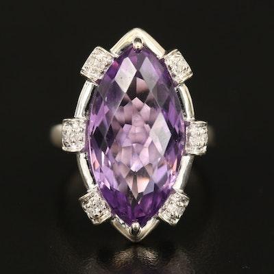 14K 12.23 CT Amethyst and Diamond Navette Ring