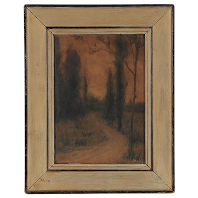 Landscape Monotype After Joseph Henry Sharp of Forest Path