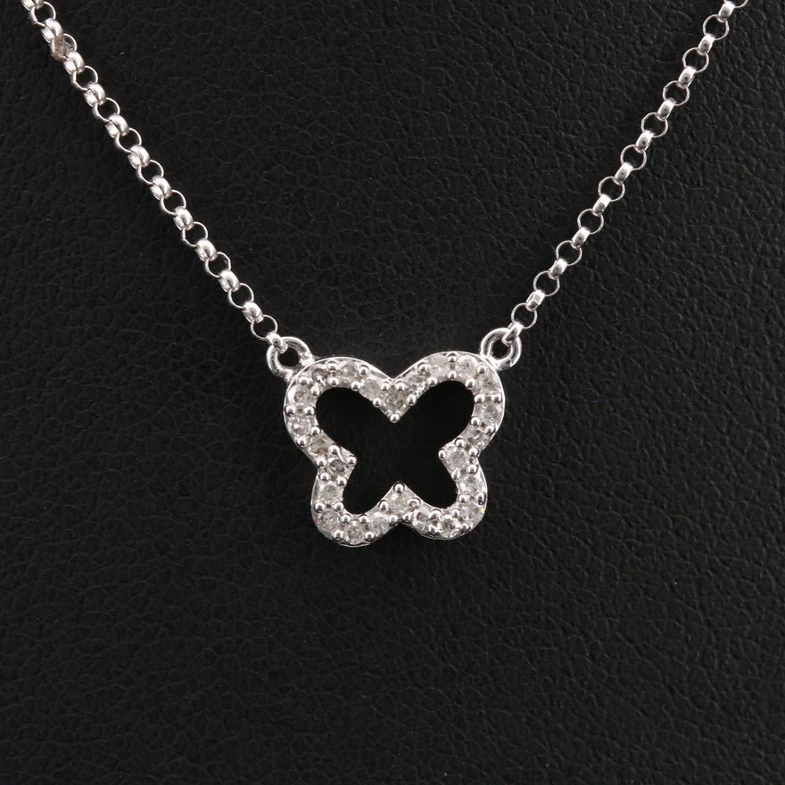 14K 0.12 CTW Diamond Butterfly Necklace