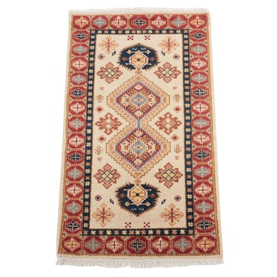3' x 5'6 Hand-Knotted Indo-Caucasian Kazak Area Rug, 2010s