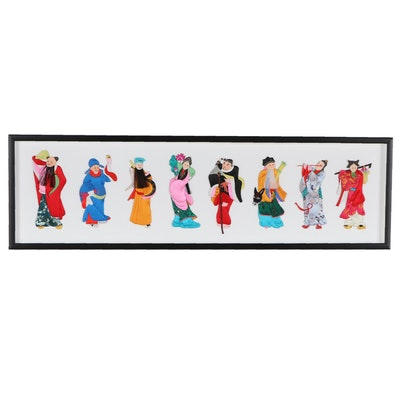 Chinese Hand-Painted Figural Silk Textile Collage of Eight Immortals