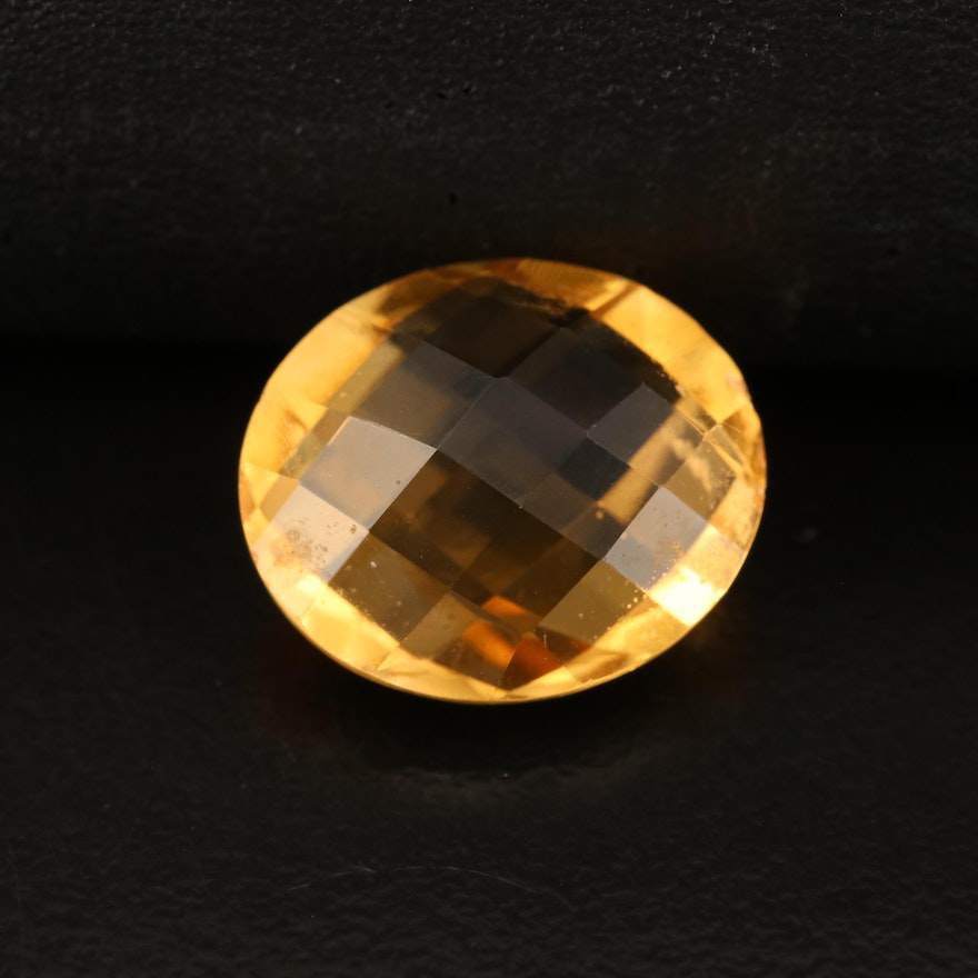 Loose 7.36 CT Oval Faceted Citrine
