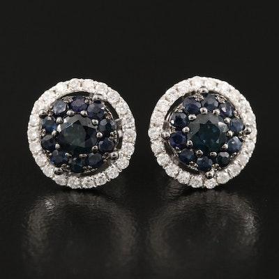 14K Sapphire and Diamond Button Earrings