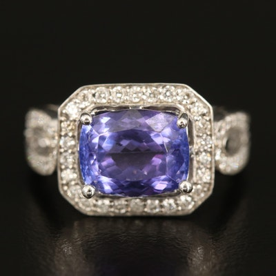 14K 3.35 CT Tanzanite and Diamond East-West Ring