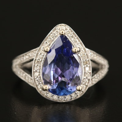 14K 3.01 CT Tanzanite and Diamond Teardrop Halo Ring with Split Shoulders