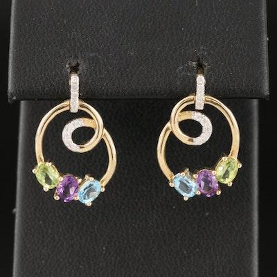 10K Diamond, Peridot and Gemstone Loop Earrings