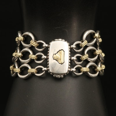 Lagos Sterling Triple Oval Link Bracelet with 18K Accent