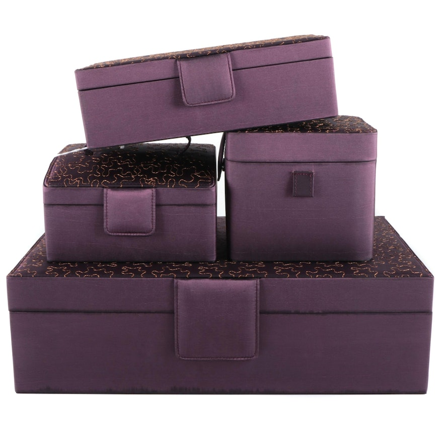 Rowallan Puzzle Motif Amethyst Polyester Jewelry Boxes