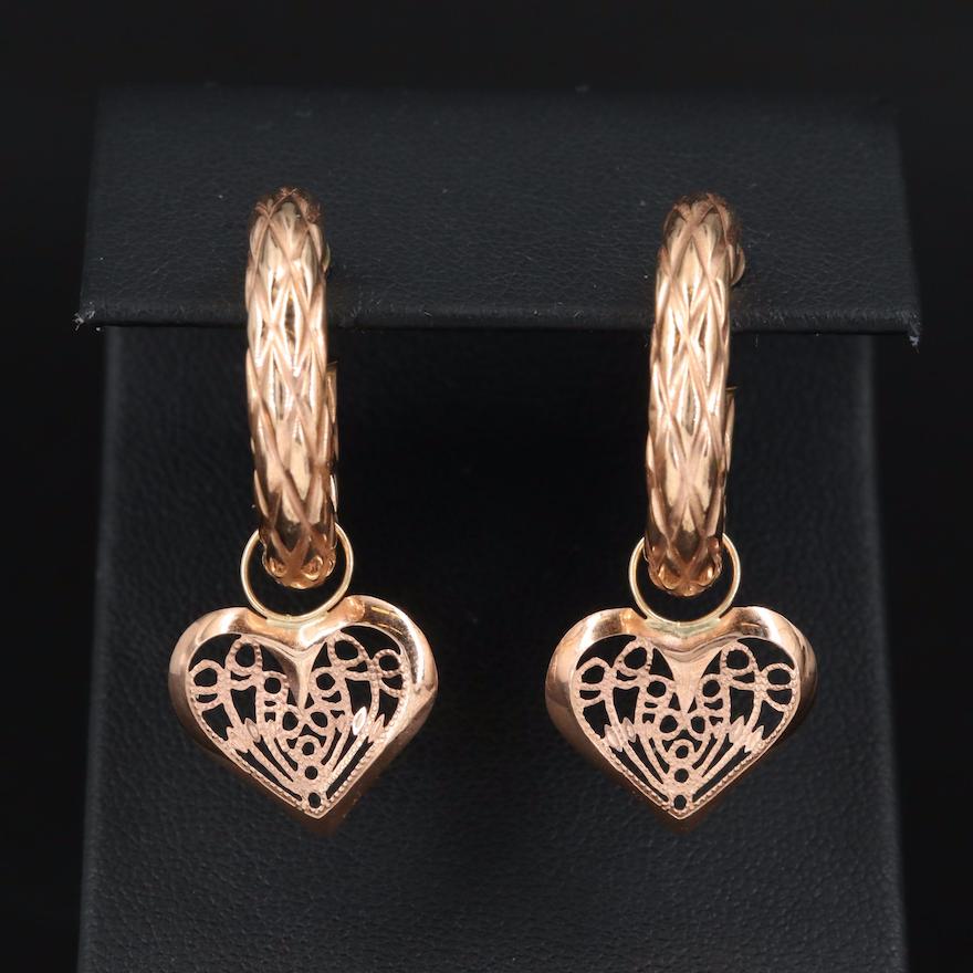 Milor Italian 14K Rose Gold Hoop Earrings with Filigree Heart Charms