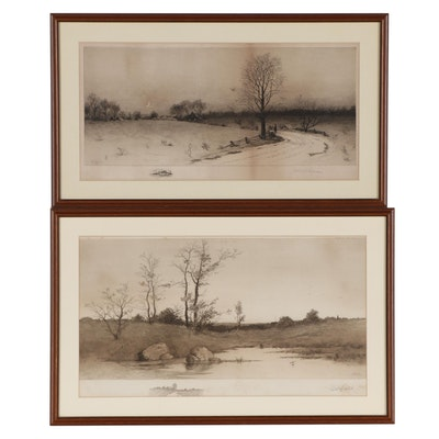 George Bohde and Edward Lloyd Field Landscape Etchings