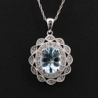 14K Aquamarine and Diamond Pendant Necklace