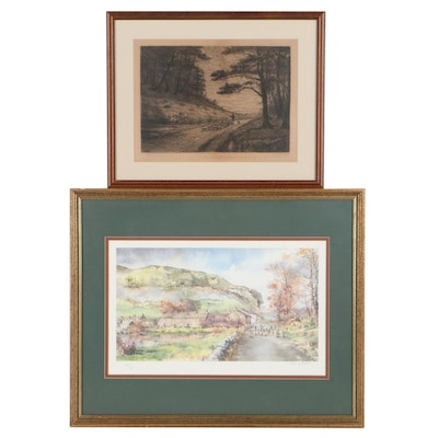 Nancy Dyson Offset Lithograph and Etching After W.W. Burgess of Landscapes
