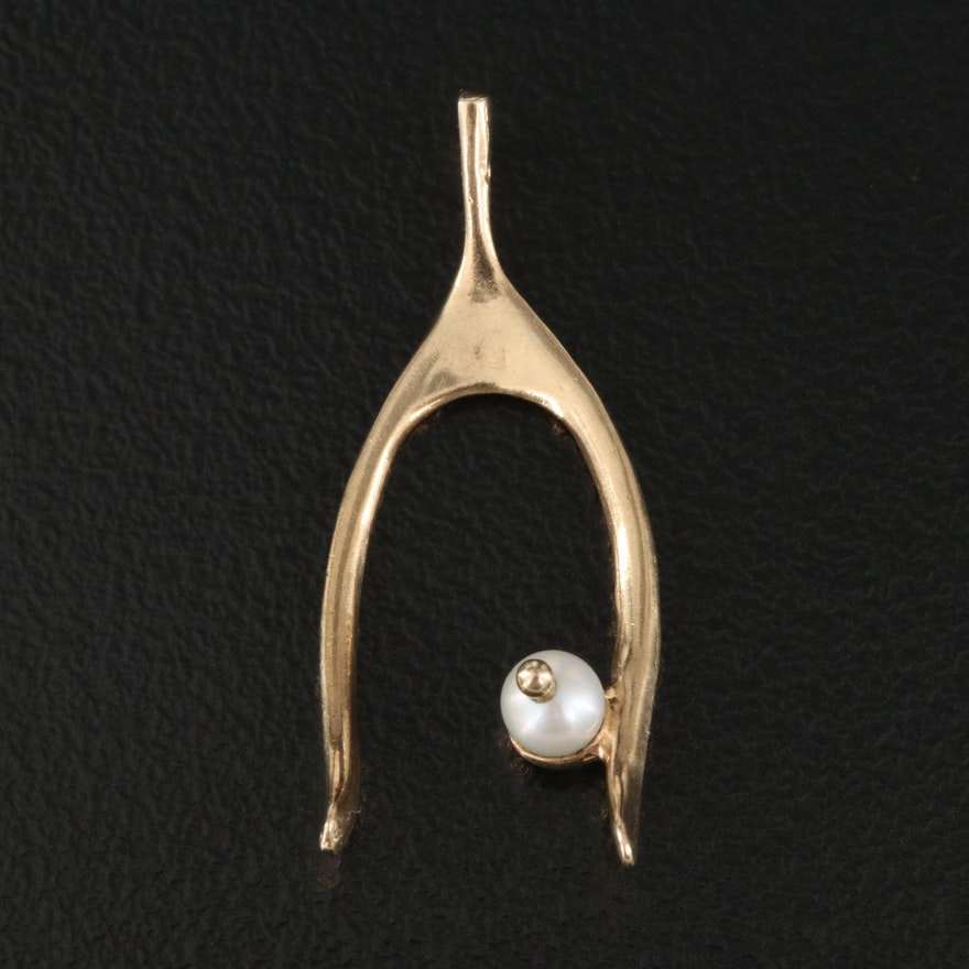 14K Pearl Wishbone Slide Pendant