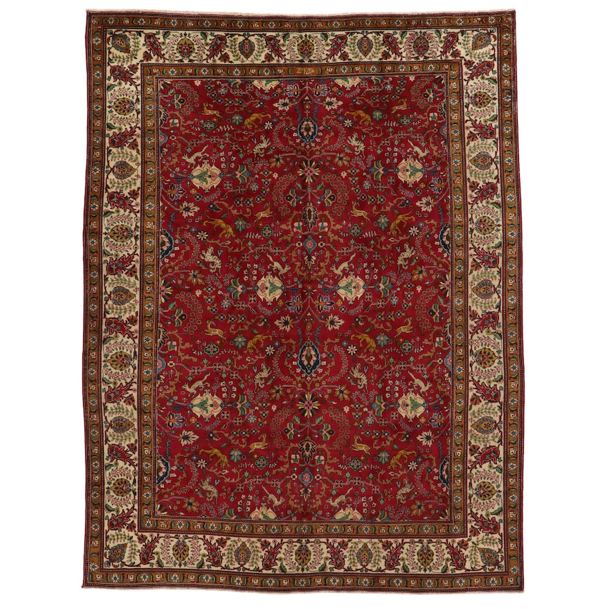 9'9 x 13'1 Hand-Knotted Indo-Persian Pictorial Room Sized Rug