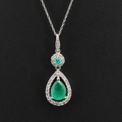 10K and 14K Emerald and Diamond Necklace