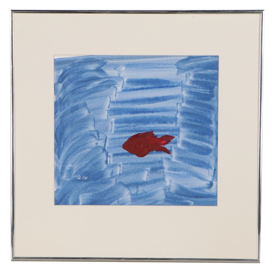 """Abstract Acrylic Painting """"Red Fish Lost in a Hurricane,"""" Late 20th Century"""