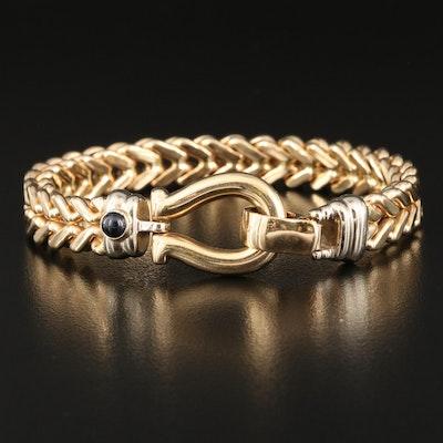 14K Italian Foxtail Chain Bracelet with Sapphire