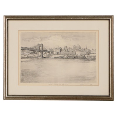 """Rotogravure After Edward T. Hurley """"Sky Line of Cincinnati in the Early 1900's"""""""