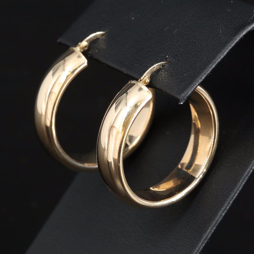 Italian Milor 14K Wide Hoop Earrings